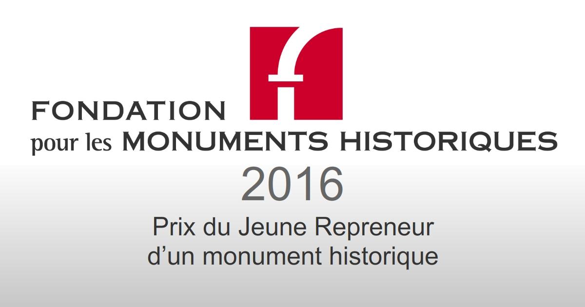 SLA Assurance - Prix jeune repreneur d'un Monument Historique 2016