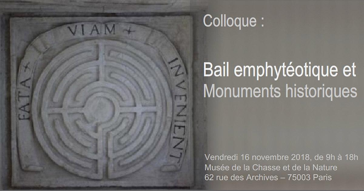 SLA Assurance - Colloque : Bail emphytéotique et monument historique